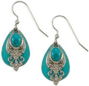 New Silver Forest Jewelry Turquoise Teardrops  Dangle Earrings Surgical Steel