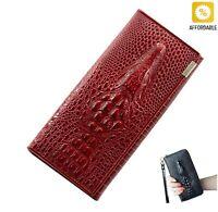 Wallet Women Genuine Leather 3D Embossing Alligator Ladies Long Clutch Wallets