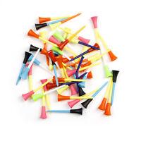 50pcs Golf Tools 83mm Multicolor Plastic Golf Tees Rubber Cushion Top Random New