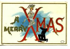Pretty Girl-Mistletoe-Man on Knee-Merry Xmas Christmas Holiday Greeting Postcard