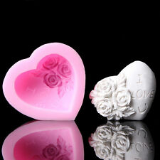 3D Silicone Rose Flower I LOVE YOU Loving Heart Mould Fondant Soap Cake Mold weo