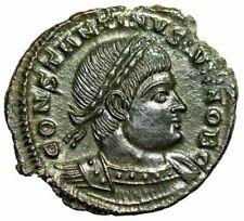 """Constantine II Caesar AE17 """"GLORIA EXERCITVS Soldiers"""" Trier RIC 527 EF"""