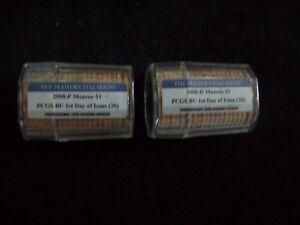 2008 P&D, Monroe, Presidential Dollar Rolls, Certified FDOI & Gem BU by PCGS!!