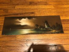 Arts & Crafts Framed Antique Chalk Pastels Painting Landscape Windmill Lake Boat