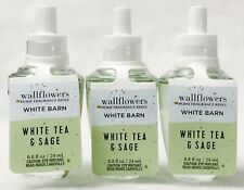 3 Bath & Body Works White Tea Sage Wallflower Home Oil Refills Bulb