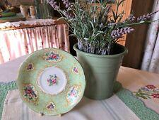 ~Vintage 1950 GREEN Floral China SAUCER~Shore & Coggins QUEEN ANNE Gainsborough~