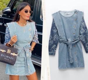 ZARA LIGHT BLUE CONTRAST DENIM DRESS JACQUARD FLORAL MINI S £60