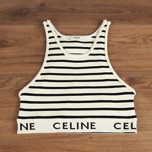 CELINE 490$ Striped Sports Bra In Cream & Navy Athletic Knit