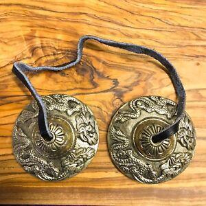 Handmade Tibetan Tingsha Bells Cymbals 5.7cm Dragon Nepal Bronze Buddhist