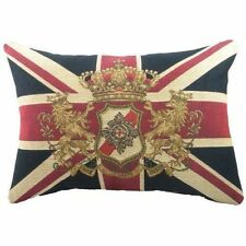 "Evans Lichfield Union Jack Traditional Lion Crest Tapestry Filled Cushion 18"" X"