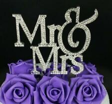 Mr & Mrs Silver Wedding Cake Topper Crystal Bling Rhinestone Wedding Anniversary