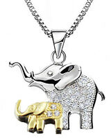 Mom Mother @ Baby Elephant Real 925 silver Pendant Necklace Gold White 18k pla