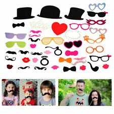 44pcs DIY Photo Booth Photobooth Props Wedding Party Photography Prop Moustache