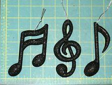 NEW~Set of 3 Black Sparkle Glitter Musical Notes Music Symbol Chrismas Ornaments