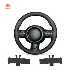 DIY Hand Stitched Black Artificial Leather Steering Wheel Cover for Mini Coupe