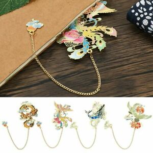 Retro Tassel Chinese style Pagination Mark Brass Bookmark Painted Book Clip