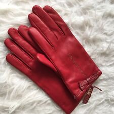 NEW Dents Ladies Red Soft Leather Bow Knit Lined Gloves 07-2179 Size 7.5