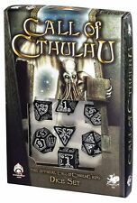 Q-workshop 7 Dice Set of Black & Glow-in-the-Dark Call of Cthulhu SCTH19