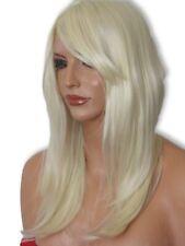 Bleach Blonde Long Straight Wavy Real Natural Feel fashion Ladies full Wig K-5