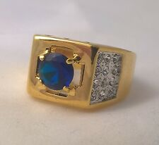 G-Filled Men's 18ct yellow gold cross ring simulated diamond blue sapphire Gents