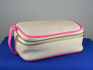 BareMinerals Blush Pink Coated Canvas Double Zip End Handle Cosmetic Makeup Bag