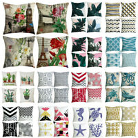 """Set of 4 Printed Throw Pillow Case Waist Cushion Cover 18"""" x 18"""" Home Decoration"""