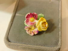 Crown Staffordshire British Vintage Painted Bone China Floral Brooch Pin