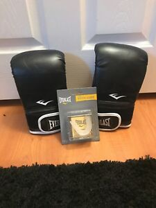 NEW Everlast Boxing Gloves Black & White Size L/XL With Mouthguard