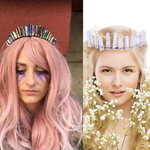 Women's Raw Crystal Quartz Crown Rhinestone Tiara Mermaid Headband Wedding Prom