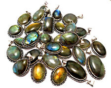 Labradorite Gemstone 925 Sterling Silver Overlay Wholesale lot 10pc Pendants