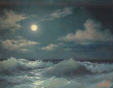 "272- 11""x 14"" GALLERY WRAP CANVAS ART PRINT SEASCAPE Stormy Sea Full Moon  Night"