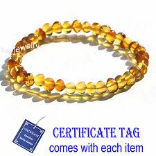 Honey Baroque Natural Baltic Amber Stretch Bracelet for Adult