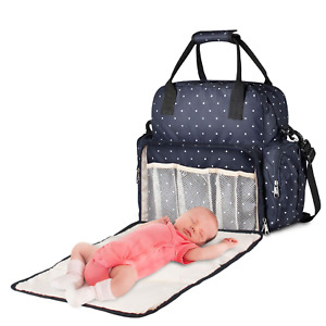 Diaper Bag Backpack Baby Bag With Changing Pad Waterproof Insulated Pockets Blue