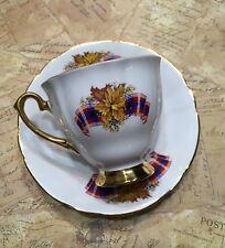 Windsor bone china Royal Canadian Tartan cup and saucer Maple Leaf gold trim