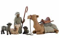Willow Tree Nativity Figurines, Shepherd and Stable Animals, 26105, Free P & P