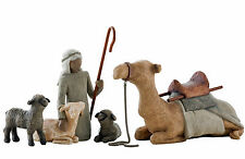 Willow Tree Nativity Figurines, Shepherd and Stable Animals, 26105, Free P & P