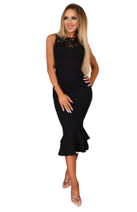 Black Lace Bodycon Fishtail Sexy Party Evening Fitted Occasion Midi Wiggle Dress