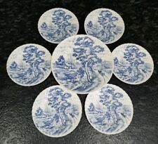 Nasco Blue River Japan Large Plate 6 Dessert Plates Dishes horse carriage swans