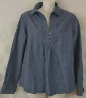 Coldwater Creek Women's Medium 10/12 Blue Chambray Popover Peasant Boho Top