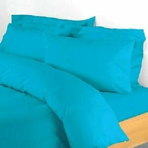 Turquoise Solid Attached Waterbed Sheet Egyptian Cotton Queen/King/Cal.King