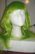 NEW Neon Green Straight Long Hair WIG w/ Bangs, Cos Play, Costume Fairy Zombie