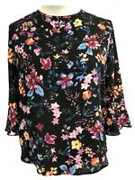 Ladies Womens Floral  Crepe Tunic/Kaftan Tops Pink/Blue print Size10-12-14-16-18