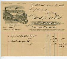 1886 BILLHEAD GALT, ONTARIO, CANADA, SHURLY & DIETRICH SAWS & TROWELS CAMBRIDGE