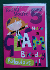 Glam Glitter 5th Birthday Card for Boys/Girls - BNIP