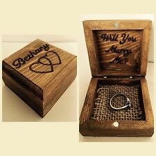 Personalised Wooden Engraved Ring Box Wedding Fiance Proposal Couple Love Gift