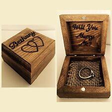 Personnalisé en bois gravé anneau boîte mariage fiancée proposition couple amour cadeau
