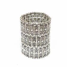 3 Row Crystal Beads Wide Stretch Cuff Bracelet Bridal Wedding Jewelry Gifts