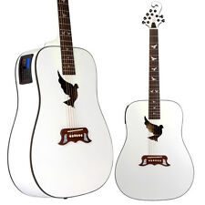 Lindo White Dove Electro Acoustic Guitar with Preamp / Tuner with LCD B-STOCK