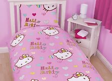 Hello Kitty Cama Individual De Edredón Rosa Chica Chico Edredón Reversible Funda de almohada 515