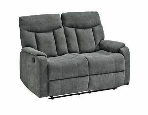 2-Sitzer Couch mit Relaxfunktion Grau Wohnzimmer Mikrofaser Sofa TV-Sessel